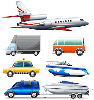 Diferentes transportaciones sobre fondo blanco ilustración