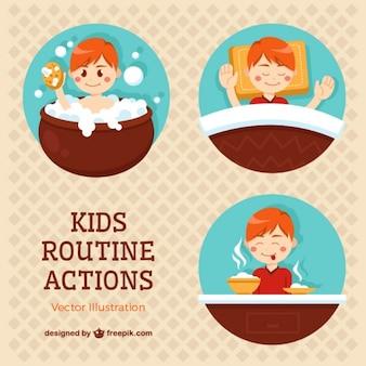 Diferentes viñetas de acciones rutinarias de niños