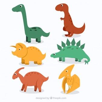 Dinosaurios adorables dibujados a mano