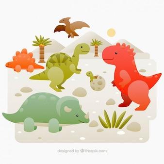Dinosaurios de colores divertidos en un paisaje salvaje