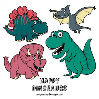 Dinosaurios de dibujos animados dibujados a mano