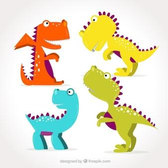 Dinosaurios graciosos coloridos