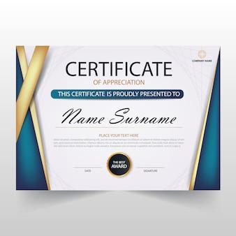 Diploma azul y blanco elegante horizontal