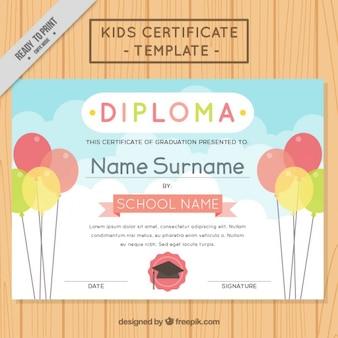 Diploma con globos para niños
