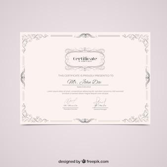 Diploma con marco vintage ornamental
