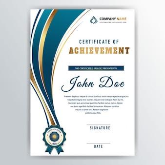 Diploma con una cinta azul y líneas doradas