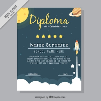 Diploma de colegio con con cohete y planetes
