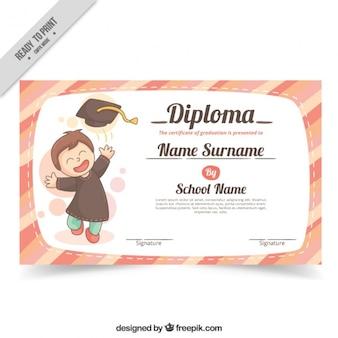 Diploma de colegio con niño feliz graduado