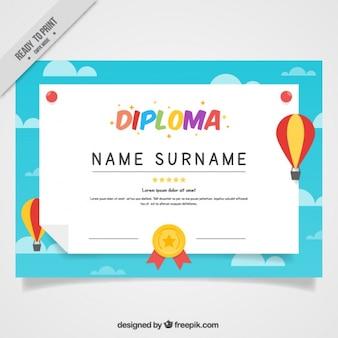 Diploma de colegio de globos