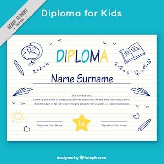 Diploma de escuela con bocetos