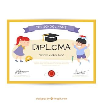 Diploma de escuela lindo