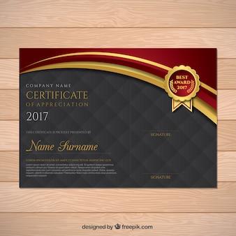 Diploma elegante con detalles dorados