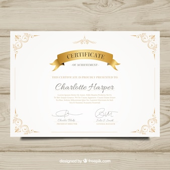 Diploma elegante con elementos dorados decorativos