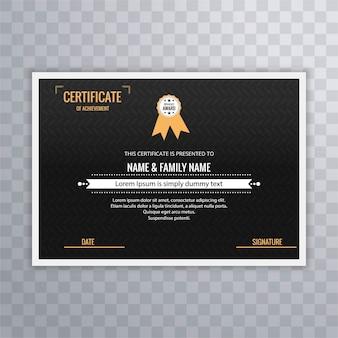 Diploma elegante oscuro y dorado