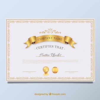 Diploma elegante vintage dorado