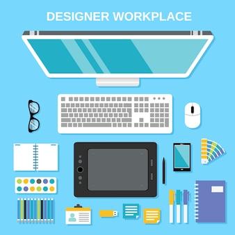 Diseñador gráfico de estudio de herramientas de trabajo de la vista superior ilustración vectorial