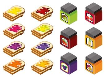 Diseño 3D para el pan y diferentes sabores de mermelada