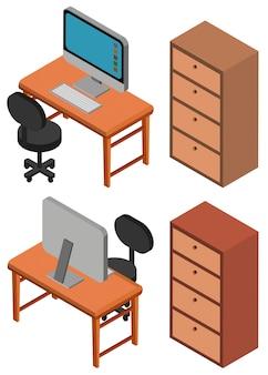 Diseño 3D para la computadora en la mesa