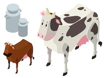 Diseño 3D para vacas y tanques de leche