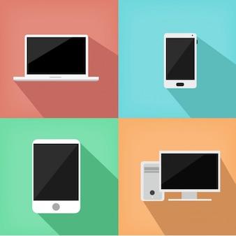 Diseño a color de objetos tecnológicos