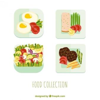 Diseño a color de platos de comida