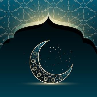 Diseño abstracto azul con luna para eid mubarak