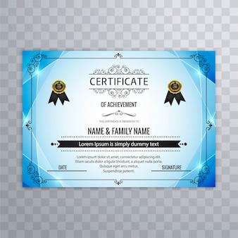 Diseño abstracto azul de certificado