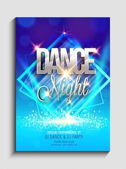 Diseño abstracto colorido adornado, plantilla del partido de la danza de la noche, aviador del partido de la danza, bandera de la fiesta de la noche o presentación de la invitación del club con los detalles.