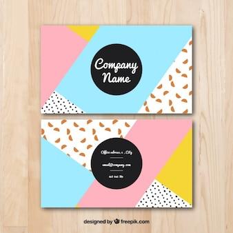 Diseño abstracto colorido de tarjetas de visita