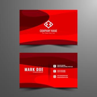 Diseño abstracto de tarjeta de visita de color rojo
