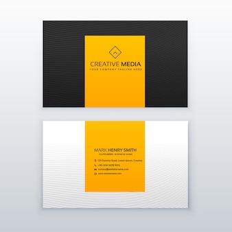 Diseño amarillo y negro mínimo de tarjeta de visita