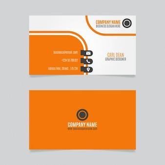 Diseño anaranjado curvas tarjeta de visita