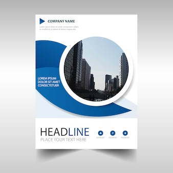 Diseño azul circular creativo de folleto de negocios