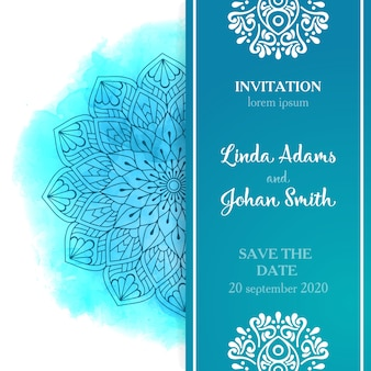 Diseño azul étnico de boda