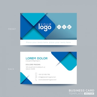 Diseño azul limpio y simple de tarjeta de visita