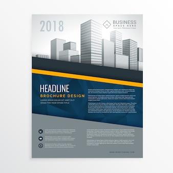 Diseño azul y amarillo de flyer de reporte anual