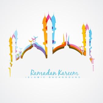 Diseño blanco para ramadán kareem con mezquita colorida