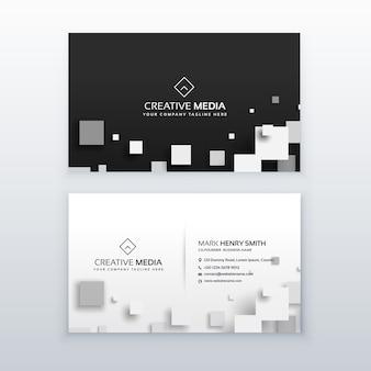 Diseño blanco y negro de tarjeta de visita
