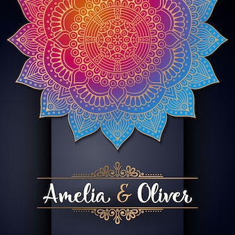 Diseño brilloso colorido étnico de boda