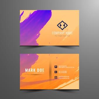 Diseño colorido abstracto de la tarjeta de visita de acuarela