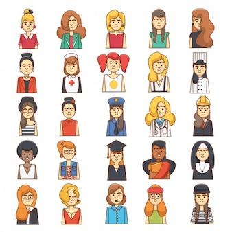 Diseño colorido de avatares de mujeres