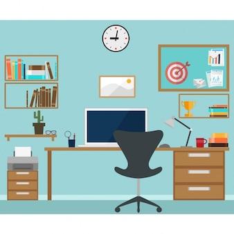 Diseño colorido de espacio de trabajo