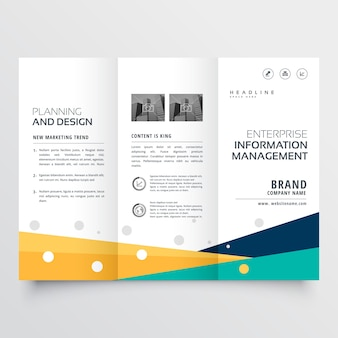 Diseño colorido ondulado tríptico de flyer de negocios
