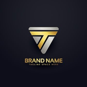 Diseño creativo de concepto de insignia de la letra t