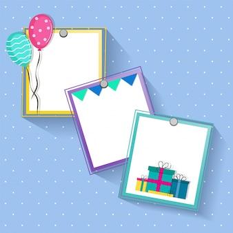 Diseño creativo de los marcos para las celebraciones del cumpleaños y del partido.