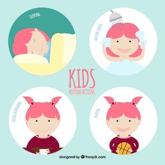 Diseño de acciones rutinarias de niños