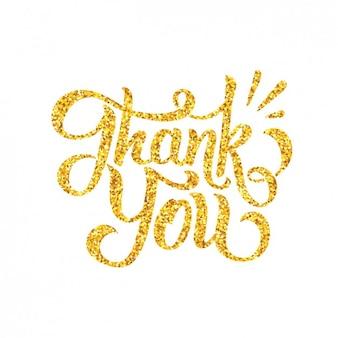Diseño de agradecimiento con letras doradas