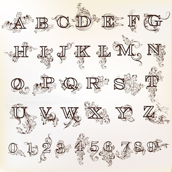 Diseño de alfabeto decorativo