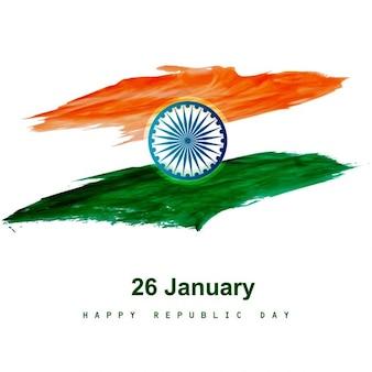 Diseño de bandera en acuarela de la india