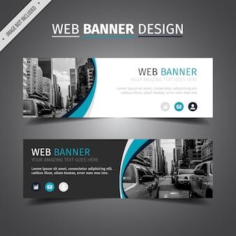 Diseño de banner azul y blanco para web
